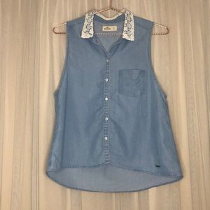 Denim & Lace Collared Button Up